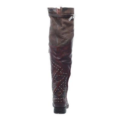 Women Round Toe Zipper Winter Chunky Heel Knee Boots