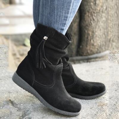 Womens Tassel Knot Flat Heel Round Toe Slide Casual Boots