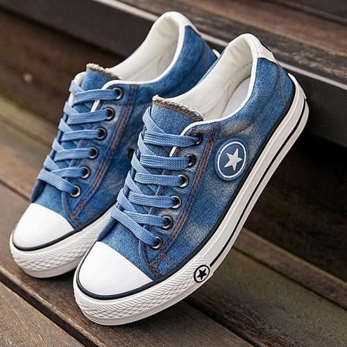 cuteshoeswearFashion Women Sneakers Denim Casual Shoes Female Summer Canvas Shoes Trainers Lace Up Ladies Basket Femme Stars Tenis Feminino