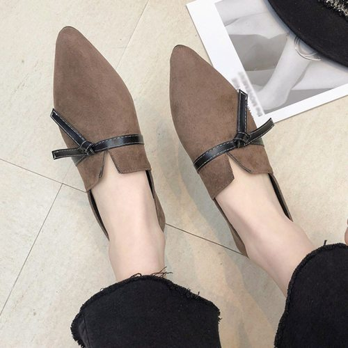 2019 Fashion Flat Shoes Women Flock Bow Flats Women Boat Shoes Slip On Ladies Loafers Solid Women Flats