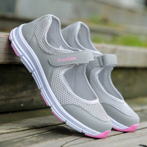 Breathable mesh women sneakers casuals shoes woman 2020 flat with hook & loop solid sneakers women shoes zapatos de mujer