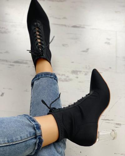 Lace-Up Transparent Chunky Boots