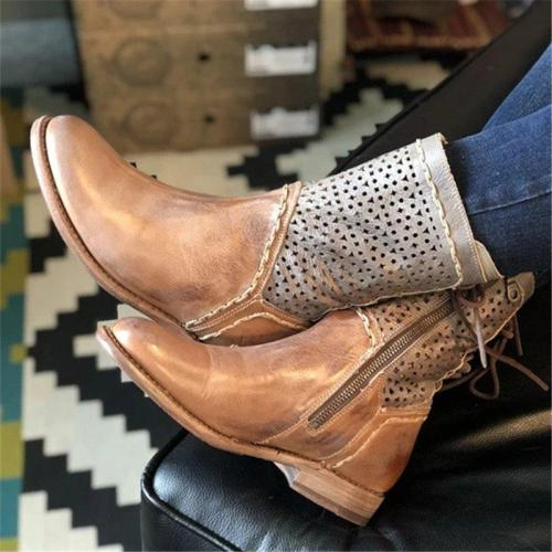 Women Casual Daily Back Lace Up Hollow Out Boots