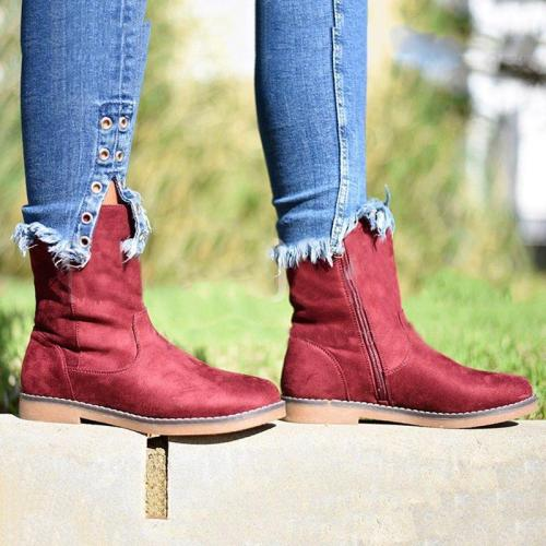 Women Faux Suede Mid-Calf Boots Round Toe Zipper Boots