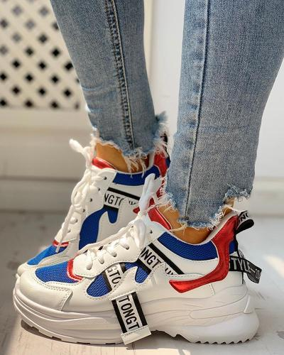 Colorblock Letter Print Lace-Up Platform Sneakers