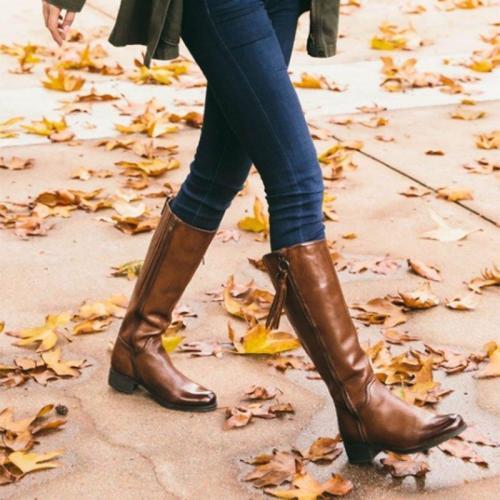 Women Plus Size Zipper Low Heel Daily Boots