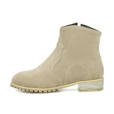 Flock Low Heeled Short Boots Plus Size Women Shoes 5754