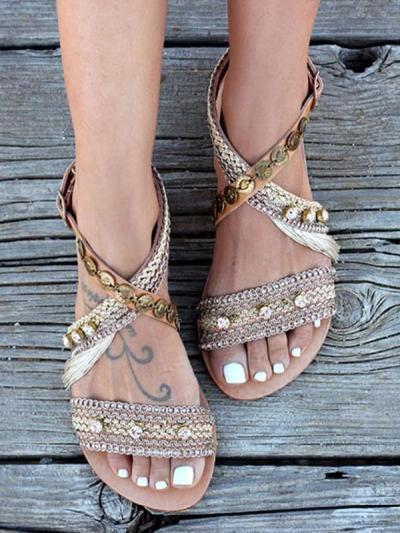 Brown Adjustable Buckle Holiday Summer Sandals