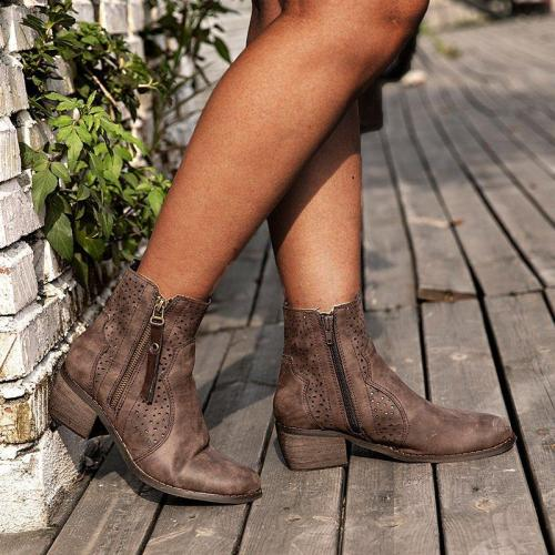 Taupe Med (3-8Cm) Chunky Heel Round Toe Women Boots