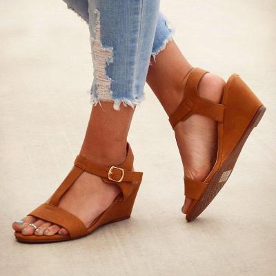 T-Strap Peep Toe Adjustable Buckle Wedge Sandals