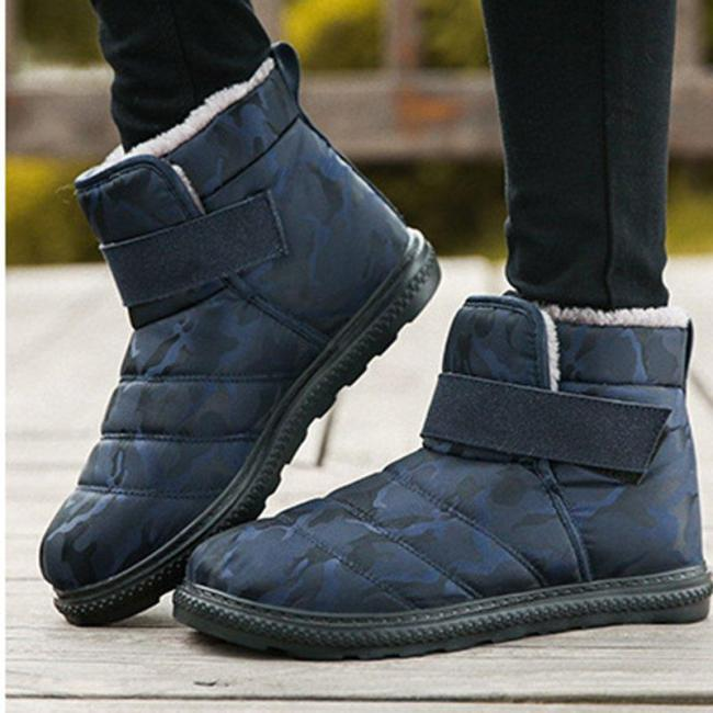 Waterproof  Ankle Snow Boots Flat Heel Round Toe Fur Lined Winter Warm Boots