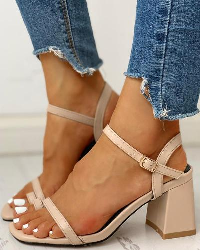 Solid Toe Ring Ankle-buckled PU Chunky Heeled Sandals