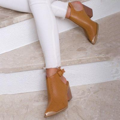Plus Size Chic Leather Buckle Chunky Heel Ankle Booties