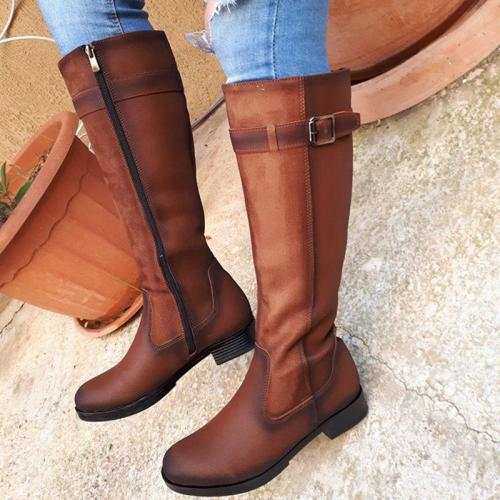 Women's Casual Round Flat Buckle Boots