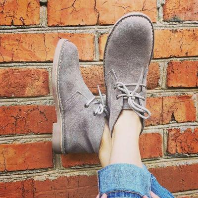 Casual All Season Lace Up Faux Suede Ankle Boots
