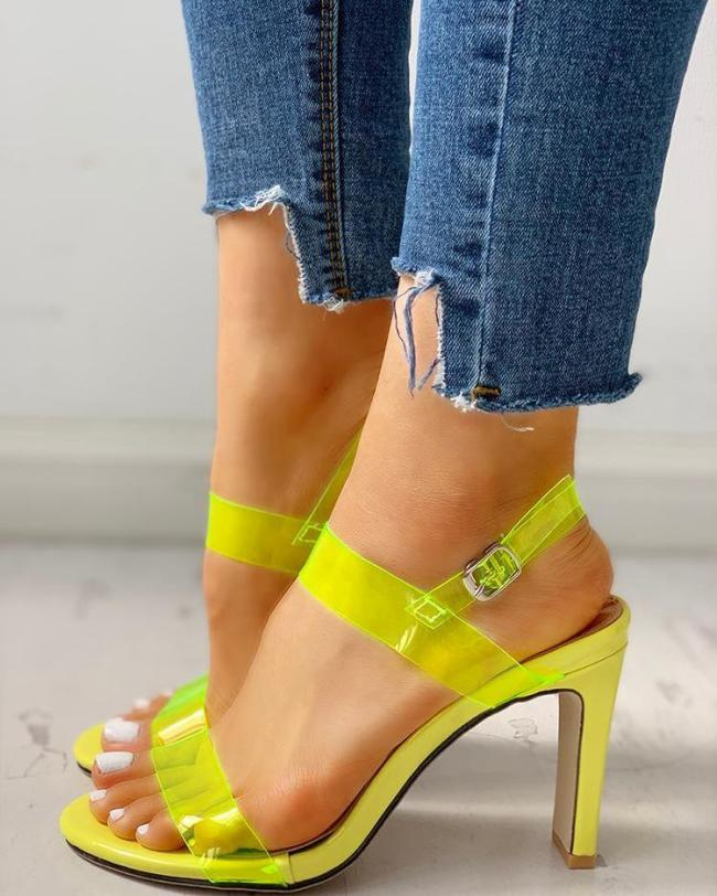 Open Toe Transparent Strap Chunky Heeled Sandals