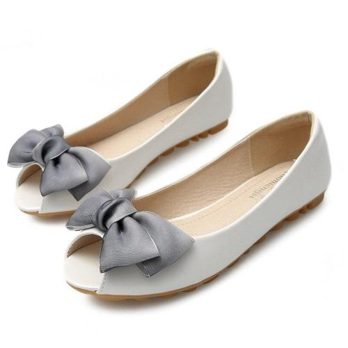 Women 2019 New Soft Bottom Flats Pregnant Women's Peep Tor Shoes Bow Big Size Women's Loafers Shoes YX0004