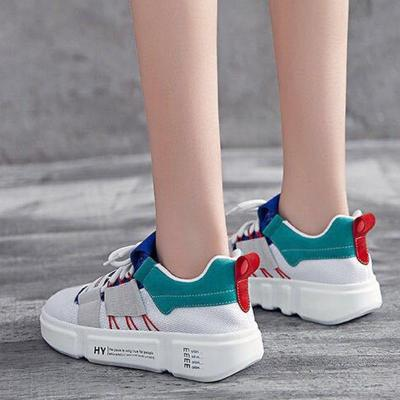 Color Block Athletic Sports Lace-Up Sneakers Women