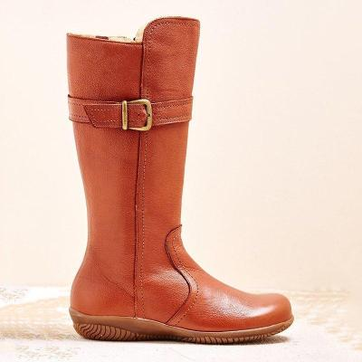 Women Winter Slip-On Buckle Knee-High Boots
