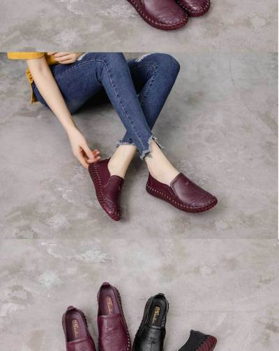 Fashion Oxford Shoes For Women Sewing Non Slip Flat Shoes Women Shallow Loafers Genuine Leather Shoes Woman Rubber