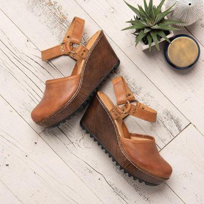 Vintage Closed Toe Wedge Heel Buckle Strap Sandals