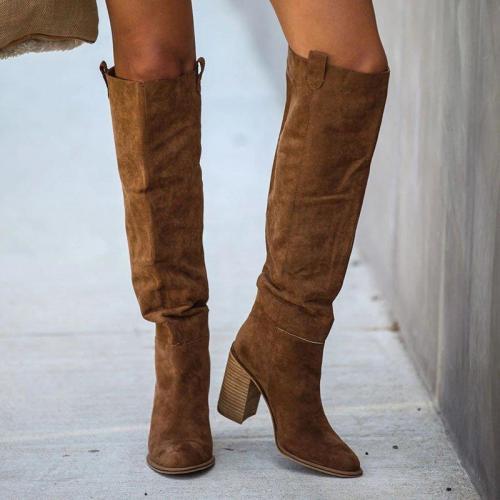 Women Fall Chunky Heel Faux Suede Long Boots