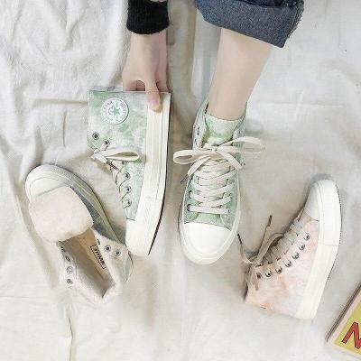 Women Flats Sneakers Shoes Vulcanize Canvas Woman Casual Loafers Winter Short Plush Warm Casual Shoes Ladies Fashion Platforme