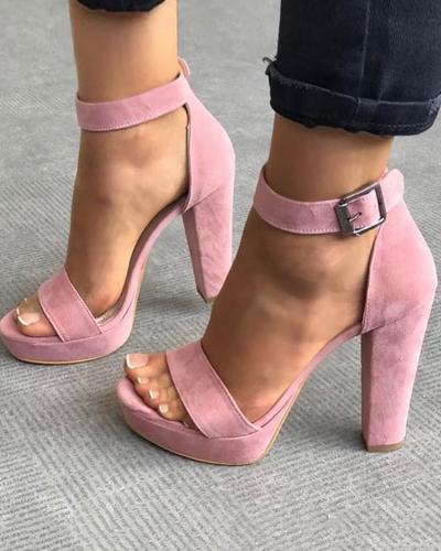 Sexy Open Toe Chunky Heeled Sandals