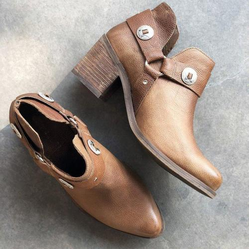 Vintage Block Heel Ankle Booties Slip-On Women Boots
