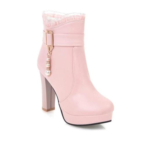 Women Shoes Super High Heels Thick Heel Platform Short Boots with Lace