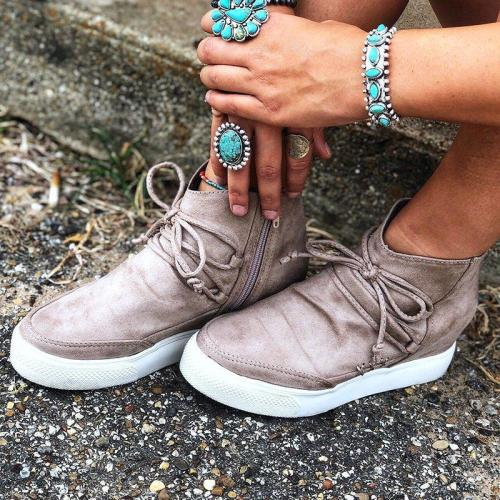 Wedge Heel Side Zipper Lace Up Suede Sneakers