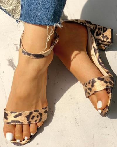 Leopard Open Toe Chunky Heeled Sandals