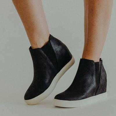 Slip-On Wedge Heel Round Toe Ankle Boots Womens Wedges Sneakers