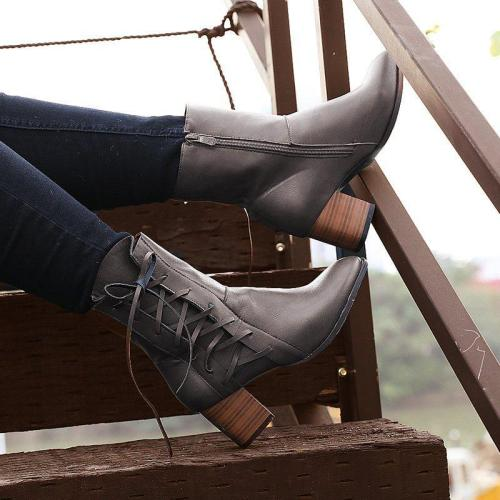 Women's vintage low heel Plus Size Boots