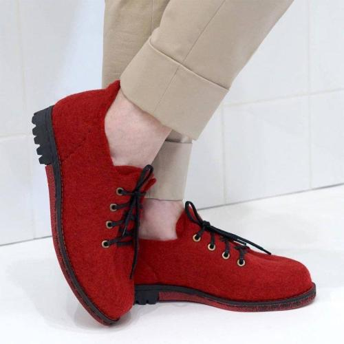 Women Winter Slip-On Lace-Up Woolen Loafers