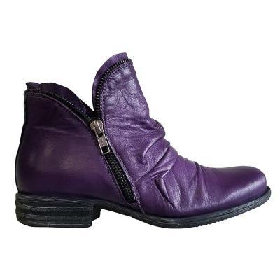 Zipper All Season Artificial Leather Low Heel Boots