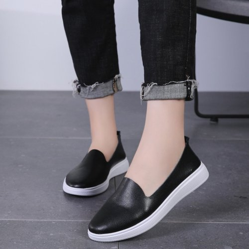 Flat Shoes Women 2019 Black Leather Flats Women Casual Shoes Solid Slip On Loafers Women Work Flat Shoes