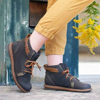 Vintage Leather Slip on Flat Boots Casual Shoes