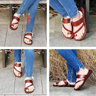 Deep Brown Flat Heel Summer Daily PU Slippers