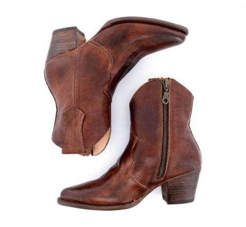 Side Zipper Chunky Heels Women's Short Motorcycle Boots