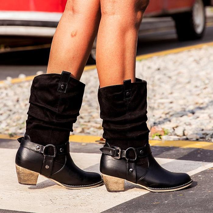 Black Chunky Heel Med (3-8Cm) Round Toe Women Boots