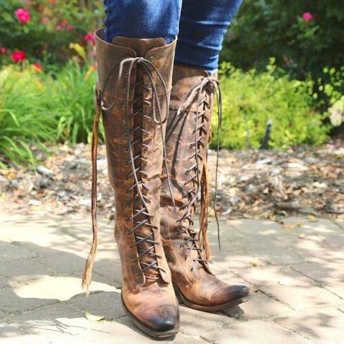 Women Vintage Lace-Up Winter Knee-High Chunky Heel Artificial Leather Boots