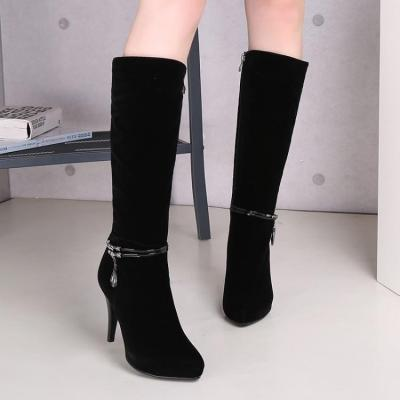 Rhinestone Pointed Toe High Heels Tall Boots for Women 2111