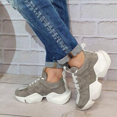 Faux Suede Low Heel Lace-Up All Season Platform Sneakers