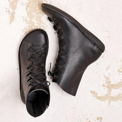 Pu Leather Flat Heel Mid-Calf Boots Womens Round Toe Comfortable Lace Up Shoes
