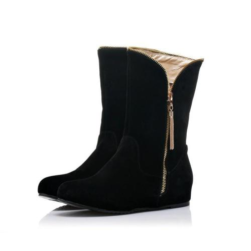 Flock Wedge Short Boots Plus Size Women Shoes 4274