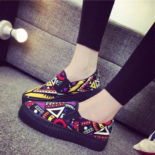 Women Graffiti Flat Platform Autumn Loafers Ladies Canvas Slip On Elastic Band Fashion Shoes Female Comfort Footwear