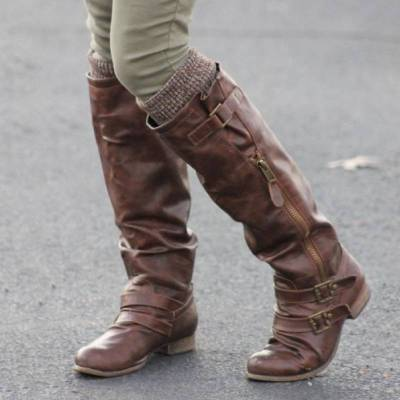 Womens Daily Casual Mid-Calf Vintage Boots