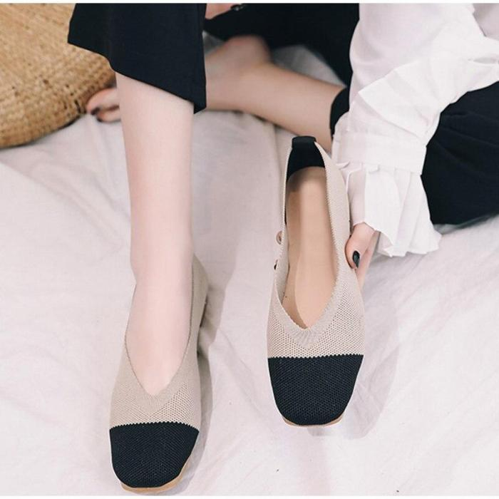 Women Spring Knitting Flat Shoes Ladies Mixed Color Slip On Casual Shoes Female Breathable Light Platform Woman Shoes 2020