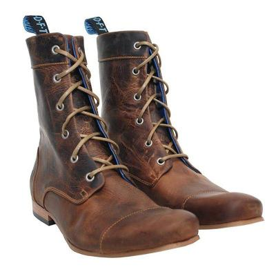 Brown Low Heel Artificial Leather Lace-Up Mid-Calf Boots